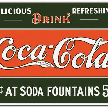 TIN SIGN COKE 5 cents at Fountain