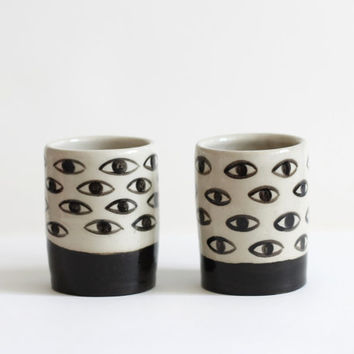 Eye Glasses  - Black and White ceramic glasses - small coffee cups