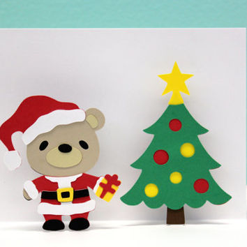 Pop Up Christmas Card - Santa Clause Card - Bear - Ho Ho Ho