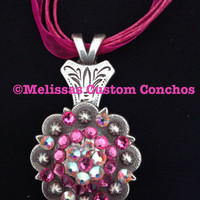 1-1/4 inch Antique necklace. Rose and Crystal AB Swarovski crystals. 18 inch pink ribbon cord.