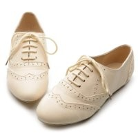 Ollio Women's Shoe Classic Lace Up Dress Low Flat Heel Oxford(7.5 B(M) US, Beige)