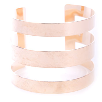 Gold High Polished Cut Out Metal Cuff Bracelet