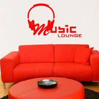 Wall Decal Vinyl Sticker Sign Music Lounge Headphones Electro Live Band r742