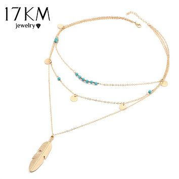 17KM Fashion Multi Layer Leaf Chain Necklaces Jewelry for Women Bohemian Blue Stone Choker Chain Jewellery Gargantilha