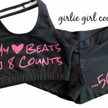 "Custom Glitter ""My Heart Beats in 8 Counts"" Cheer Set - Halter Sports Bra and Hot Shorts - Multiple Color Options"