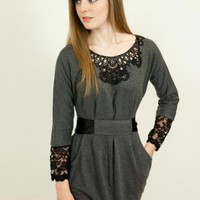 Long Sleeve Lace Front Twin Pockets Dress in Grey