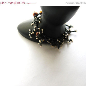 SALE Snow Capped Branches Delicate Beadwork Bracelet, Evergreen Beads and Coppery Chocolate Freshwater Pearls