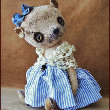 "By Alla Bears Vintage Sea 10.5 "" inch artist Old Teddy Bear doll OOAK prim handmade toy baby girl Retro Antique button Silk custom dress"