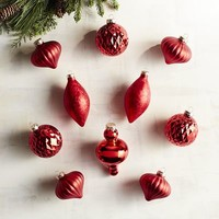 Boxed Set of 10 Red Mixed Shape Ornaments