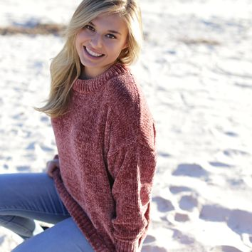One Thing Chenille Sweater, Rose