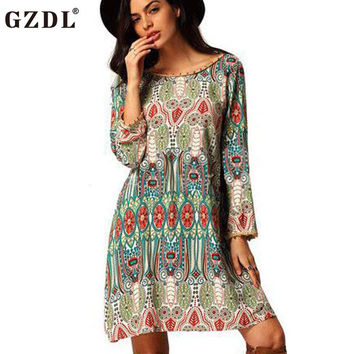 GZDL Vintage Floral Print Women Ladies Long Sleeve Boho Casual Loose Backless Chiffon Mini Spring Autumn Dress Vestidos CL3073