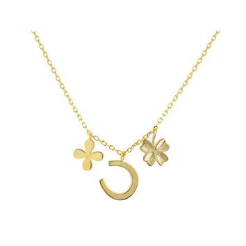 """14k Gold Plated Sterling Silver Four Leaf Clover & Horseshoe Multi-Charm Pendant Necklace, 17"""" Long"""