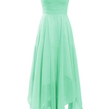 Diyouth Long Sweetheart Bridesmaid Dresses Handkerchief Hem Prom Cocktail Dresses