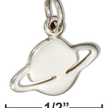 Sterling Silver Planet Saturn Silhouette Charm