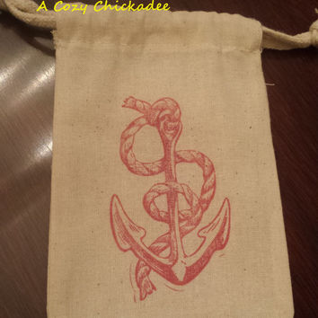 Cotton Muslin Bags with Anchor 4x6