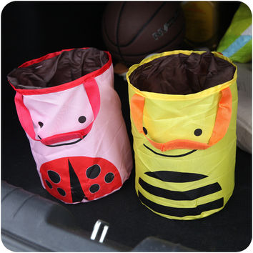 Innovative Lovely Portable Rubbish Bin Multi-functioned Cars Storage Basket [6395703684]