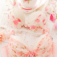 FIORI Push-Up Fancy Bra Panty Set Cute Kawaii Japanese-Style Floral Chifon Lingerie White Pink A B
