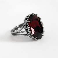 Dark Gothic Ring with Burgundy Swarovski Crystal
