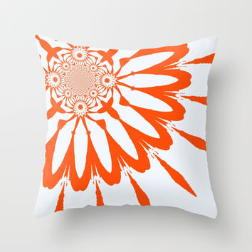 White & Orange Modern Flower Throw Pillow by 2sweet4words Designs