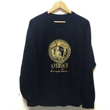 Versace Madusa sweatshirt Embroidery big logo spellout stylish