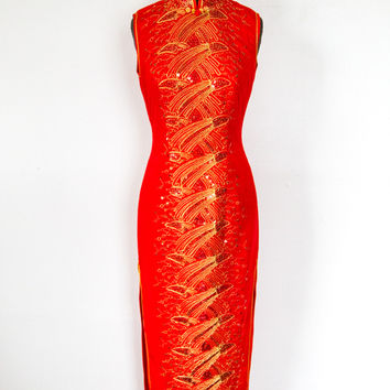 1990's Red Asian Style Sequin Maxi Dress S (Small/Indie Brands)