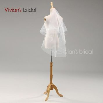 White Bridal Bride Ribbon Edge Wedding Accessories Two-Layers Veils