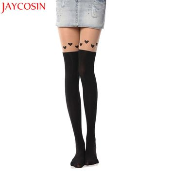 Hosiery tights Pantyhose women 2018 Fashion Black Sexy Black Loving Heart Printed 2018 for girls stocking Silk Tights JN30A