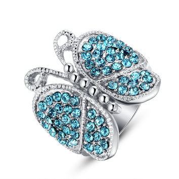Stainless Steel Electric Blue Crystal Studded Butterfly Ring