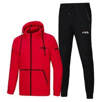 FILA winter thick men's cardigan hooded warm two-piece red