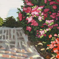 Pink Flower Lined Brick Pathway Acrylic Painting