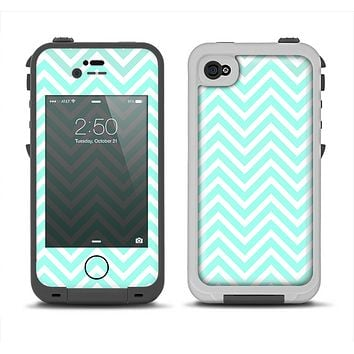 The Light Teal & White Sharp Chevron Apple iPhone 4-4s LifeProof Fre Case Skin Set