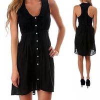 Black button down dress with back tie