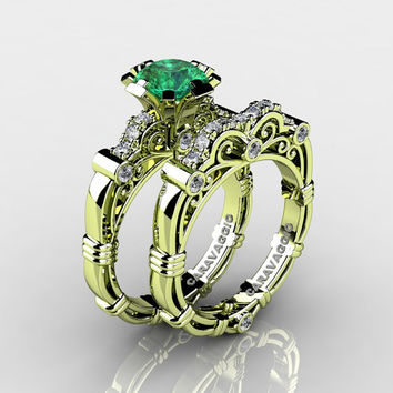 Art Masters Caravaggio 18K Green Gold 1.0 Ct Emerald Diamond Engagement Ring Wedding Band Set R623S-18KGGDEM