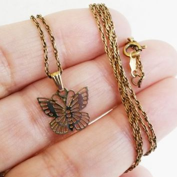 Vtg 925 Gold Plated Butterfly Pendant Necklace & Rope Chain SIGNED StarSymbol