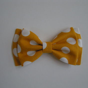 Mustard yellow bow,white polka dot hair bow, Hair Bows,Fabric bows,hairbow, hairbows for girls, Bows for women, bow bows