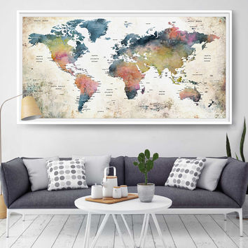 Push Pin Travel Watercolor World Map Print, Home Decor Wall Art For Gift, Large Abstract Watercolor Pushpin Map Art Poster Print  (L62)