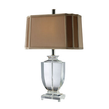 Layfette Table Lamp in Clear Crystal with Cream And Taupe Shade