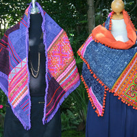 Boho Womens Triangle Scarf Hmong Patchwork With Fringe or Pom Poms Embroidery And Batik  Colorful Wrap Or Shawl