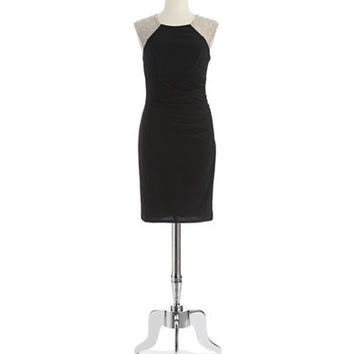 Xscape Rhinestone Accented Ruched Dress