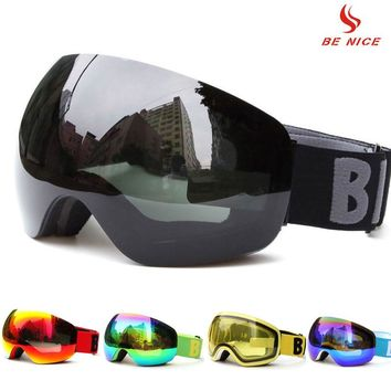 Professional Big Frame Ski Goggles Double Lens UV400 Anti-fog Adult Snowboard Skiing Glasses Women Men Snow Eyewear for helmet