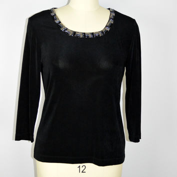 Chico's Travelers Black top with Beaded Sparkly Trim Sz 1 Medium