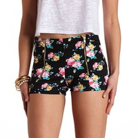 ZIP-UP FLORAL PRINT HIGH-WAISTED SHORTS