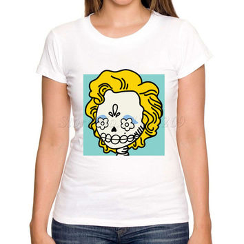 2017 Women's Fashion Marilyn Monroe Sugar Skull Design T shirt Cartoon Creative Printed Lady Customized Tops Girl Funny Cute Tee
