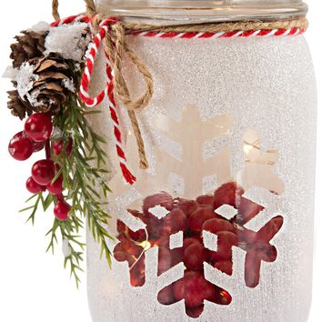 Snowflake LED Mason Jar