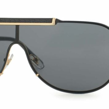 498ffe13e205 New Versace Men s Sunglasses VE2140 100287 Gold Frame Gray Shield Lens 40mm