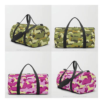 Camo Dachshund DUFFLE BAG Pattern Doxie Back to School Pack Green Smooth Wire Long Wiener Sausage Hot Dog Purple Pink Camouflage Grass Brown