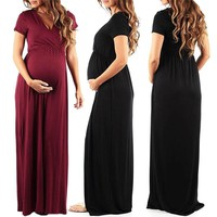 Womens Dresses Summer Long Pregnant Nursing Pregnancy Dress Solid Maternity photography Clothing Hollow Out Party dresses
