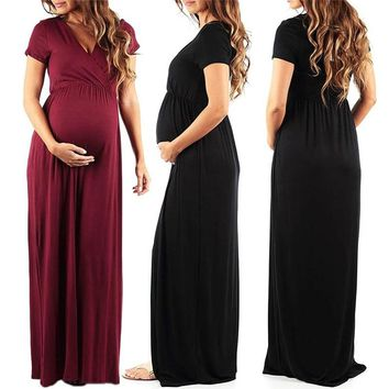 Womens Dresses Summer Long Pregnant Nursing Pregnancy Dress Solid Maternity  photography Clothing Hollow Out Party dresses 520d6e698693