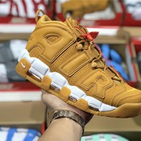 Nike Air More Uptempo Wheat color Basketball shoe Size 36-45