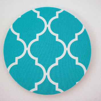 Mouse Pad mousepad / Mat - Rectangle or round - Trellis in turquoise - coworker gift, teacher gift, cubical decor, office accessories